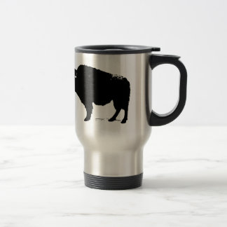 Taza De Viaje Bisonte negro y blanco del búfalo del arte pop