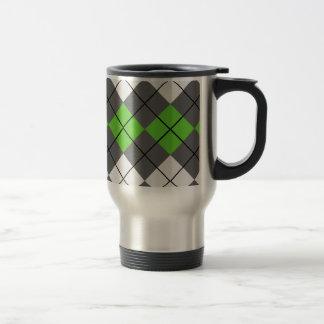 Taza De Viaje Blanco gris y verde Argyle