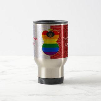Taza De Viaje Blanco rojo del orgullo gay del arco iris del