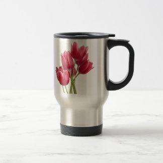 Taza De Viaje Bonito en tulipanes rosados