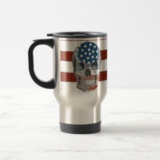 Taza De Viaje Cráneo de la bandera americana del vintage