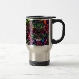 Taza De Viaje Día del cráneo del azúcar del arte colorido del