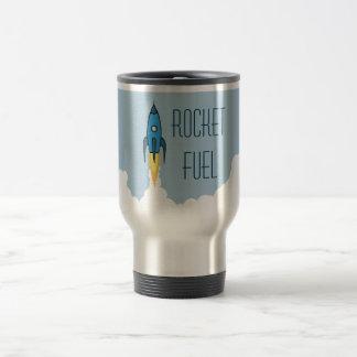 Taza De Viaje Dibujo animado retro azul Rocketship del