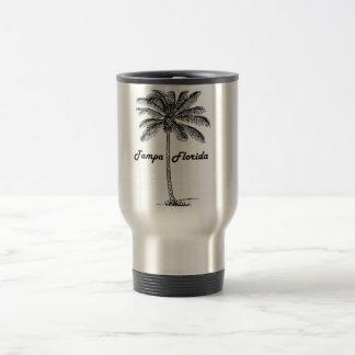 Taza De Viaje Diseño blanco y negro de Tampa y de la palma
