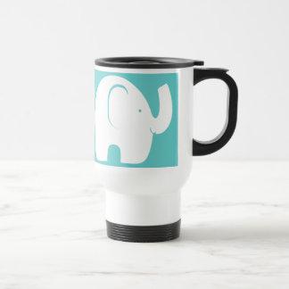 Taza De Viaje Elefantes blancos sobre la aguamarina