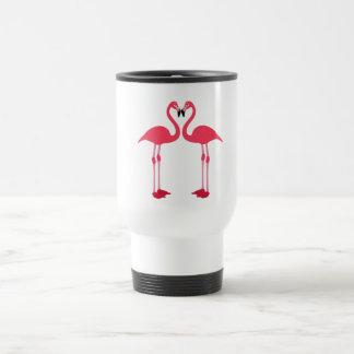 Taza De Viaje Flamenco-pájaro-amor-corazón rosado