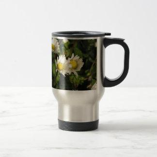 Taza De Viaje Flores de la margarita blanca en fondo verde