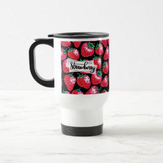 Taza De Viaje Fresa roja en fondo negro