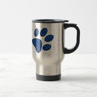 Taza De Viaje impresión chispeante de la pata del gato - azul