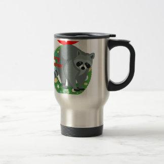 Taza De Viaje mapache de las Felices Navidad