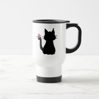 Taza De Viaje Mariposa del rosa de la silueta del gato negro
