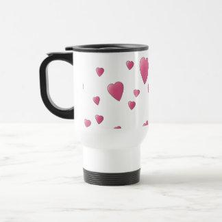 Taza De Viaje Modelo de los corazones rosados bonitos del amor