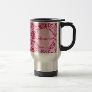 Taza De Viaje Modelo floral del enrejado de los rosas de té en