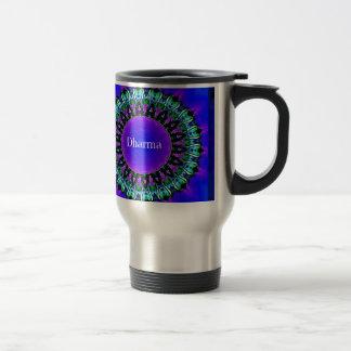 Taza De Viaje Modelo púrpura de la mandala de Darma de las