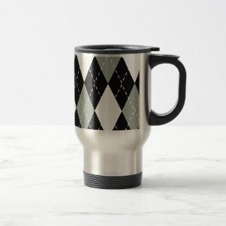 Taza De Viaje Negro cromático de Argyle, gris, blanco