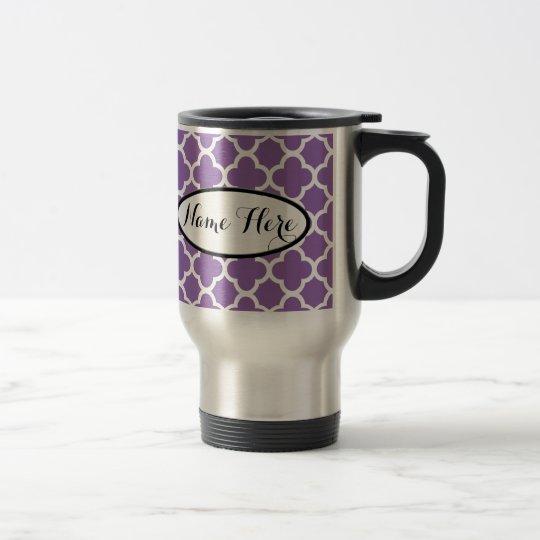 Taza De Viaje Nombre púrpura personalizado de Quatrefoil