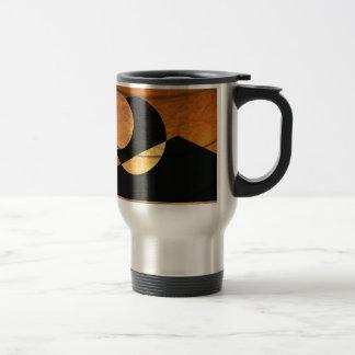 Taza De Viaje Resplandor de los planetas, negro y cobre, diseño