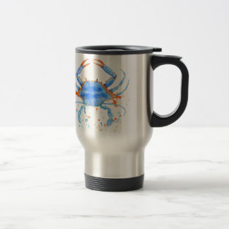 Taza De Viaje Salpicadura de la pintura del cangrejo azul de la