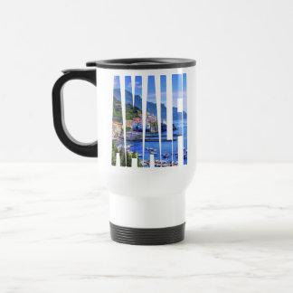 Taza De Viaje Tipografía colorida de la foto de Amalfi Italia