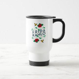 Taza De Viaje Tipografía floral de Frida Kahlo el  