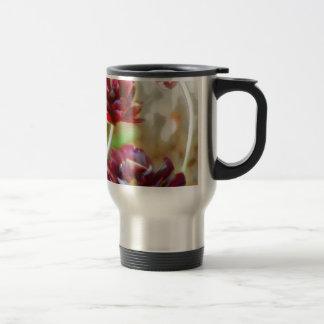 Taza De Viaje Trío floreciente del tulipán del Peony oscuro de
