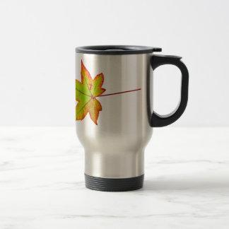 Taza De Viaje Una hoja de arce colorida en otoño en blanco