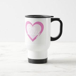 Taza De Viaje Viaje adaptable del corazón rosado/taza del