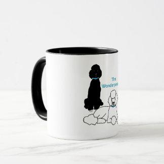 Taza de Wonderpoodles con la manija coloreada
