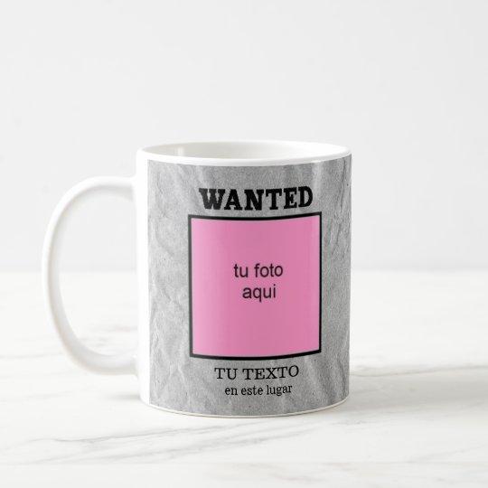 Taza dedicada Wanted - Se busca personalizada
