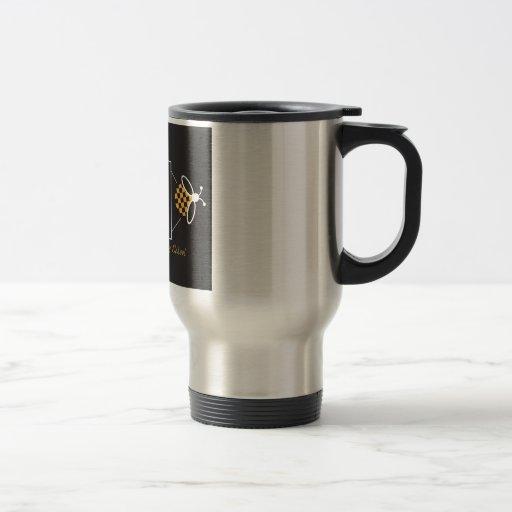 Taza del acero inoxidable con el logotipo negro