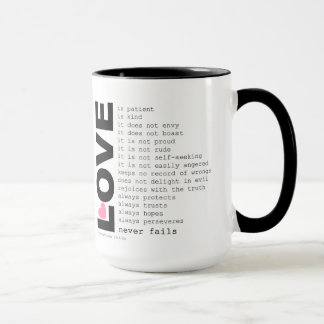 Taza del amor de la imagen del café del peine 15oz