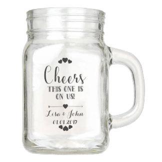 Taza del boda del tarro de albañil, taza del