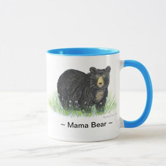 Taza del borde azul del oso negro del ~ de mamá