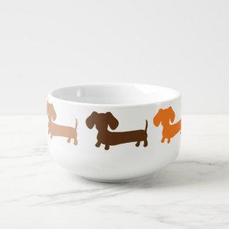 Taza del cuenco de sopa del Dachshund en marrones