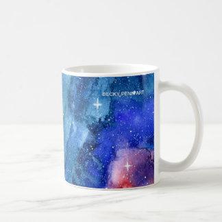Taza del espacio de la galaxia de la acuarela