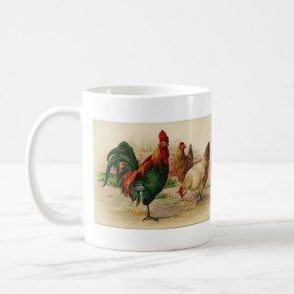 Taza del gallo y del pollo del país del vintage
