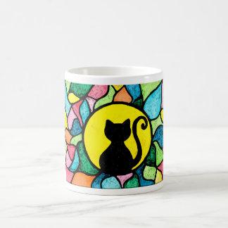 Taza del gatito de la acuarela del vitral