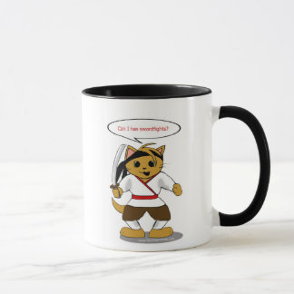Taza del gato de la seguridad del samurai