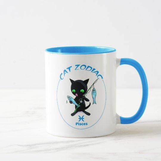 Taza del gato del zodiaco de Piscis