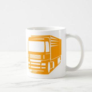 Taza del logotipo del transporte y del camión de
