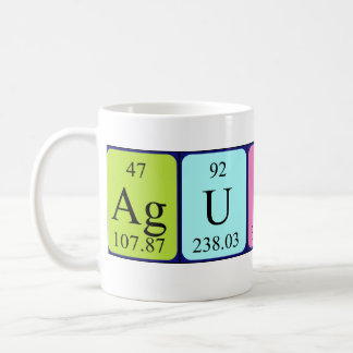 Taza del nombre de la tabla periódica de Agustin