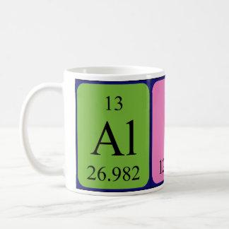 Taza del nombre de la tabla periódica de Alicia