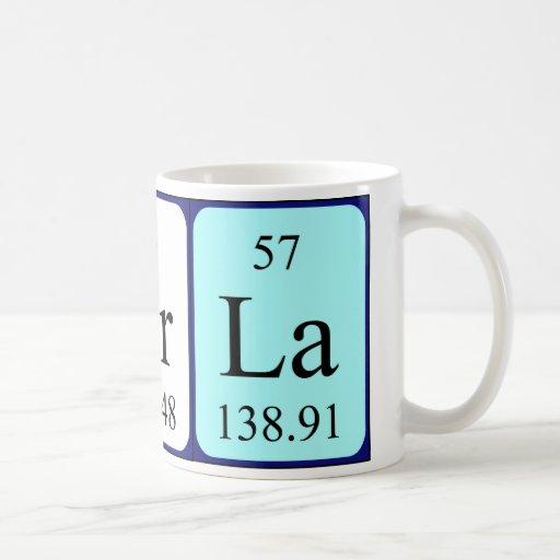 Taza del nombre de la tabla periódica de Carla