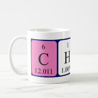 Taza del nombre de la tabla periódica de Charo