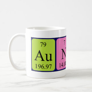Taza del nombre de la tabla periódica de la tía