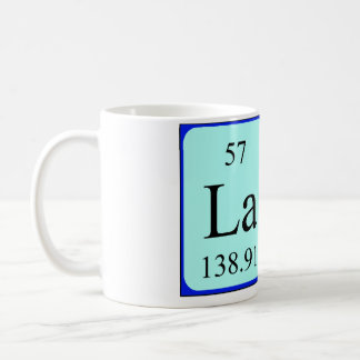 Taza del nombre de la tabla periódica de Lara