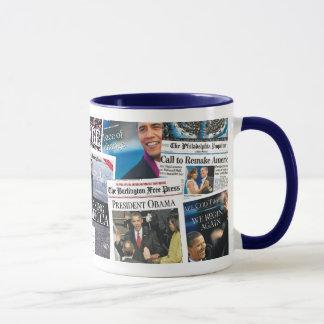 Taza del periódico de la inauguración de Obama