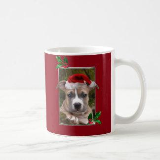 Taza del perrito del pitbull del navidad