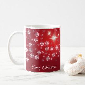 Taza del rojo del copo de nieve de las Felices