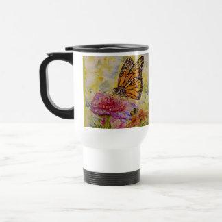 Taza del viaje del arte de la mariposa de monarca